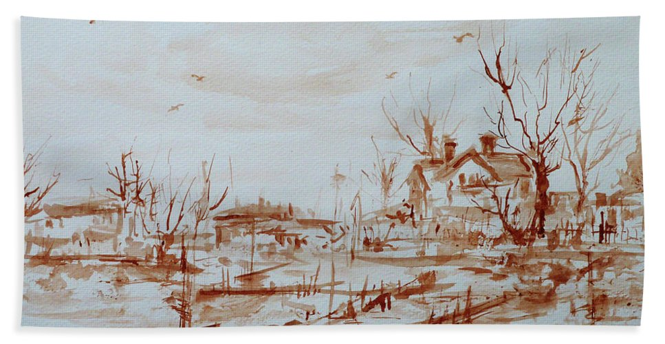 Landscape Beach Towel featuring the painting Winter Sketch 1 by Xueling Zou