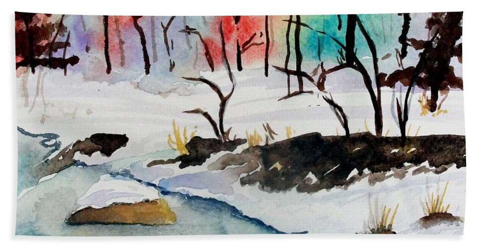 Colors Beach Towel featuring the painting Winter Stream by Jimmy Smith