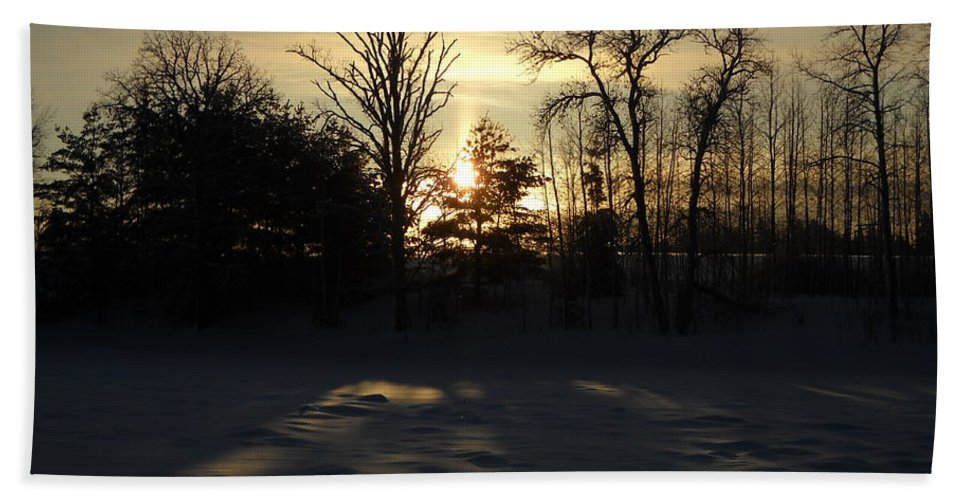 January Beach Towel featuring the photograph Winter Sunrise Shadows by Kent Lorentzen