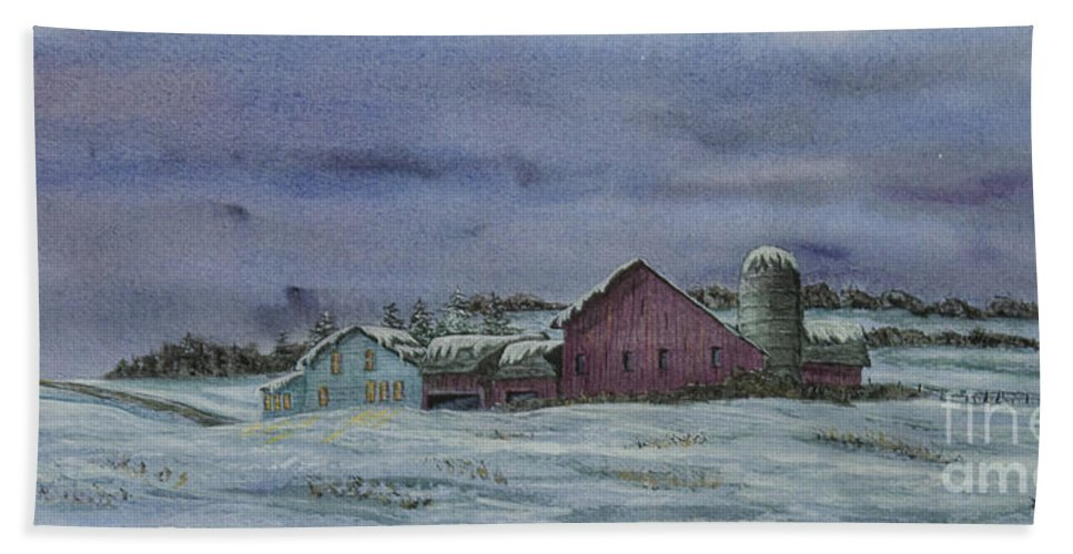 Barn Beach Towel featuring the painting Winter Sunset by Charlotte Blanchard