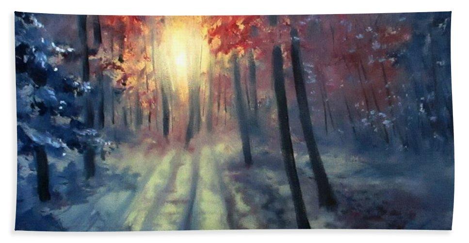 Sunset Beach Towel featuring the painting Winter sunset by Natalja Picugina