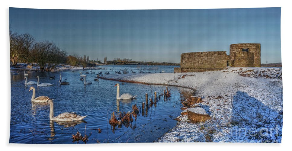 Brownhills Beach Towel featuring the photograph Winter Swan Lake by Mickey At Rawshutterbug