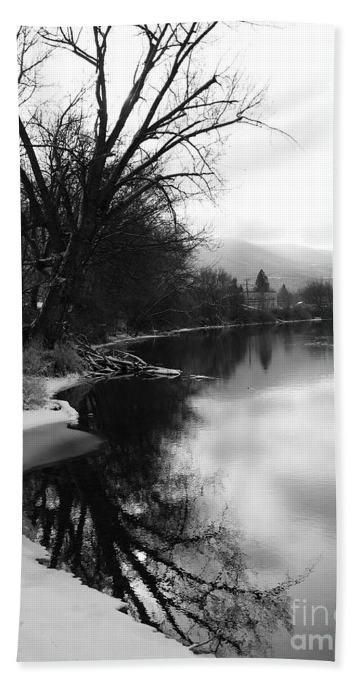 Black And White Beach Towel featuring the photograph Winter Tree Reflection - Black and White by Carol Groenen