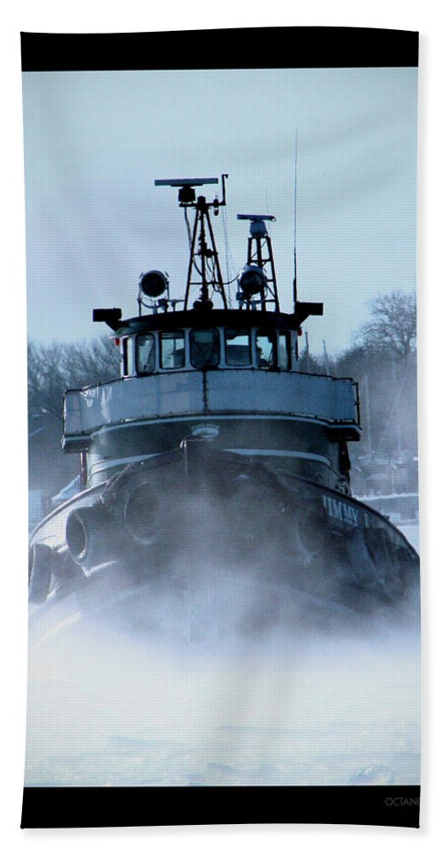 Tug Beach Towel featuring the photograph Winter Tug by Tim Nyberg