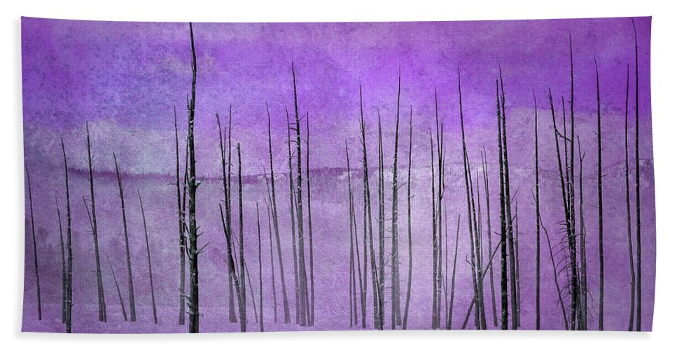 Yellowstone Beach Towel featuring the photograph Winter Violet 7913violet by Karen Celella