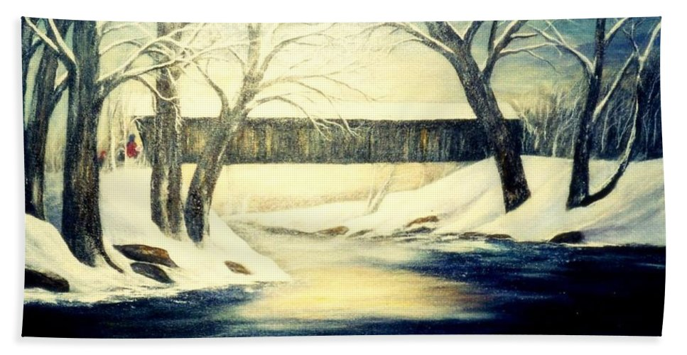Bridge Beach Towel featuring the painting Winter Walk At Bennett's Mill Bridge by Gail Kirtz