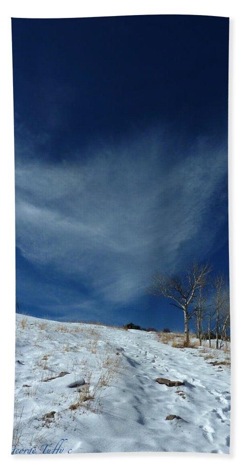 Winter Colorado Hike Simple Zen Cloud Sky Rocky Mountain Beach Towel featuring the photograph Winter Walk by George Tuffy