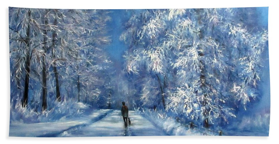 Winter Beach Towel featuring the photograph Winter walk together by Natalja Picugina