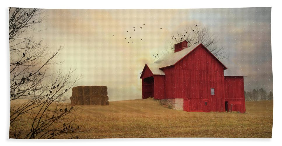 Barn Beach Towel featuring the photograph Winter's Arrival by Lori Deiter