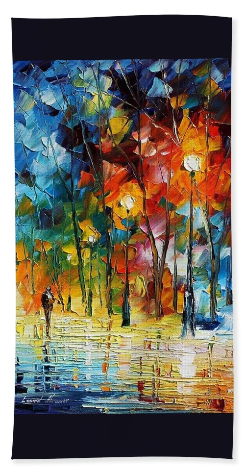 Afremov Beach Towel featuring the painting Winter's Chill Wind by Leonid Afremov