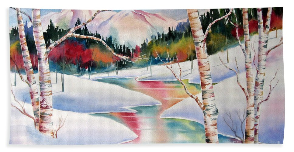Snow Beach Towel featuring the painting Winter's Light by Deborah Ronglien