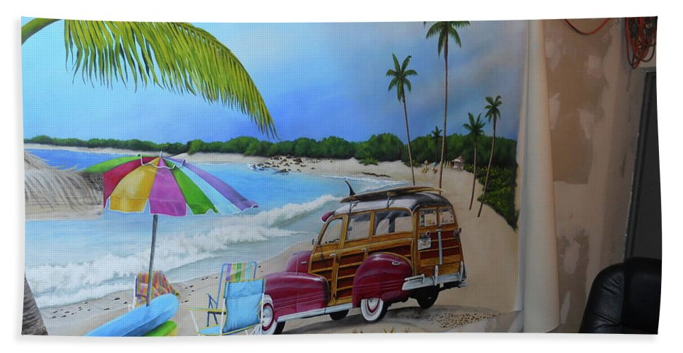 Beach Towel featuring the painting Wip 03- Tyler's Room by Cindy D Chinn