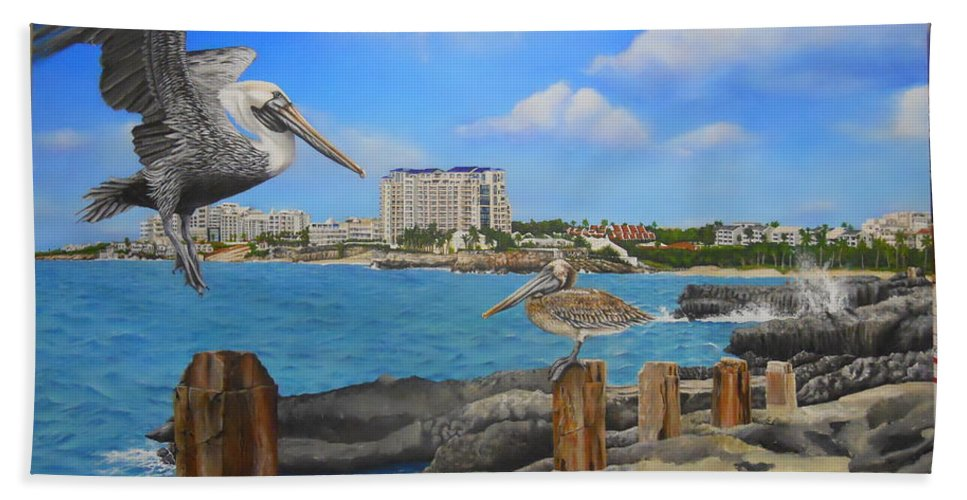 Beach Towel featuring the painting Wip-pelican 08 by Cindy D Chinn
