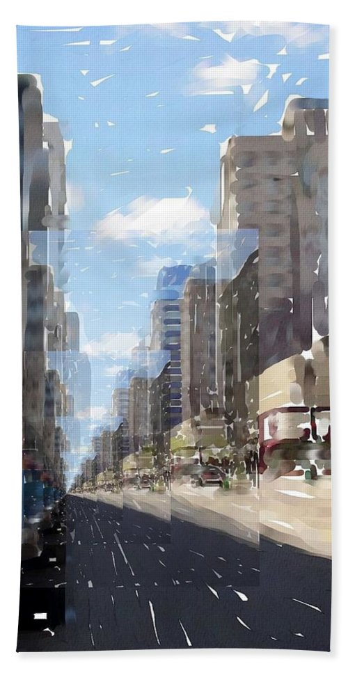 Milwaukee Beach Towel featuring the digital art Wisconsin Ave Cubist by Anita Burgermeister