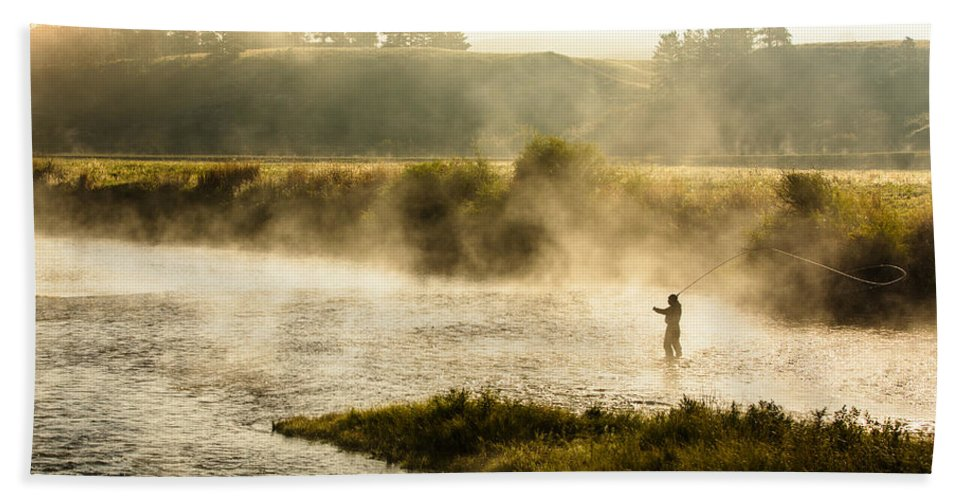 Fly Fishing Beach Towel featuring the photograph Wisps Of Fog by Todd Klassy
