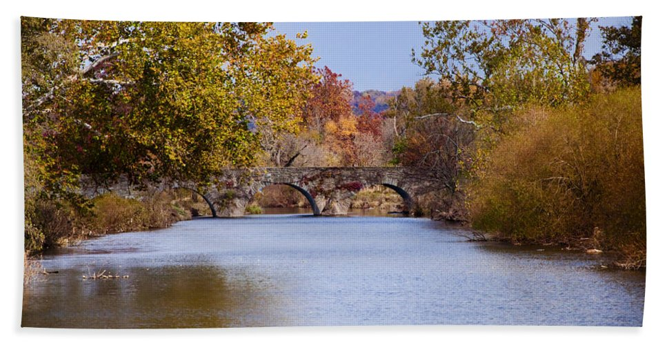 Wissahickon Beach Towel featuring the photograph Wissahickon Autumn by Bill Cannon