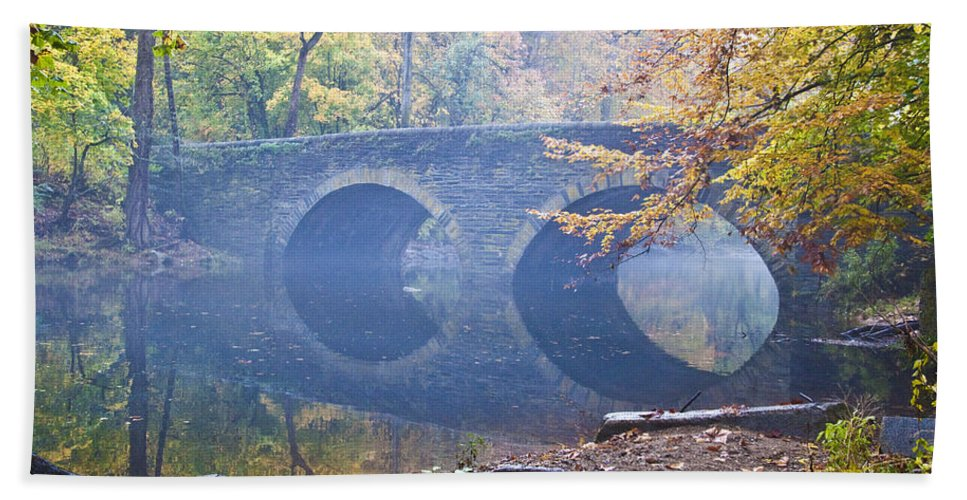Wissahickon Beach Towel featuring the photograph Wissahickon Creek At Bells Mill Rd. by Bill Cannon
