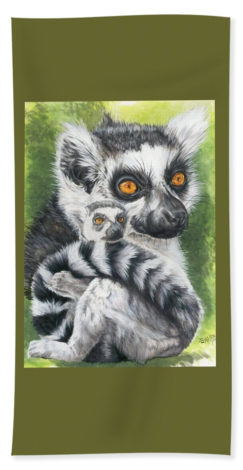 Lemur Beach Towel featuring the mixed media Wistful by Barbara Keith