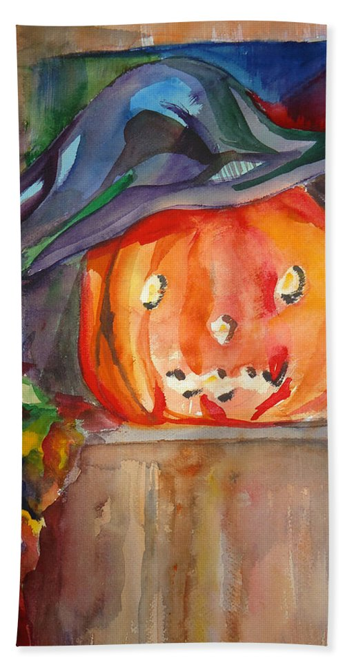 Halloween Beach Towel featuring the painting Witch Pumpkin by Charme Curtin