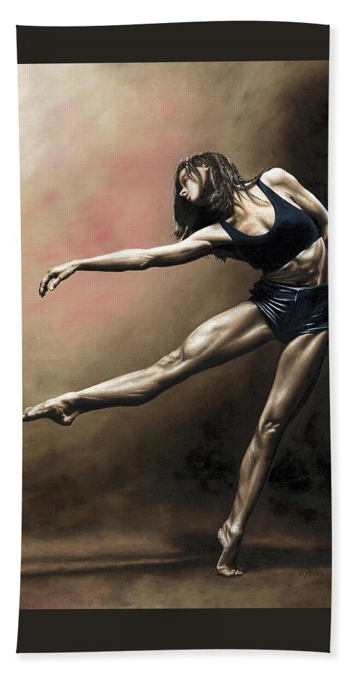 Dancer Beach Towel featuring the painting With Strength and Grace by Richard Young