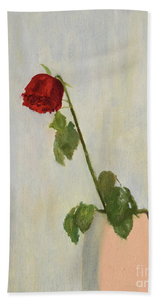 Rose Beach Towel featuring the painting Withering Rose by Oleg Konin