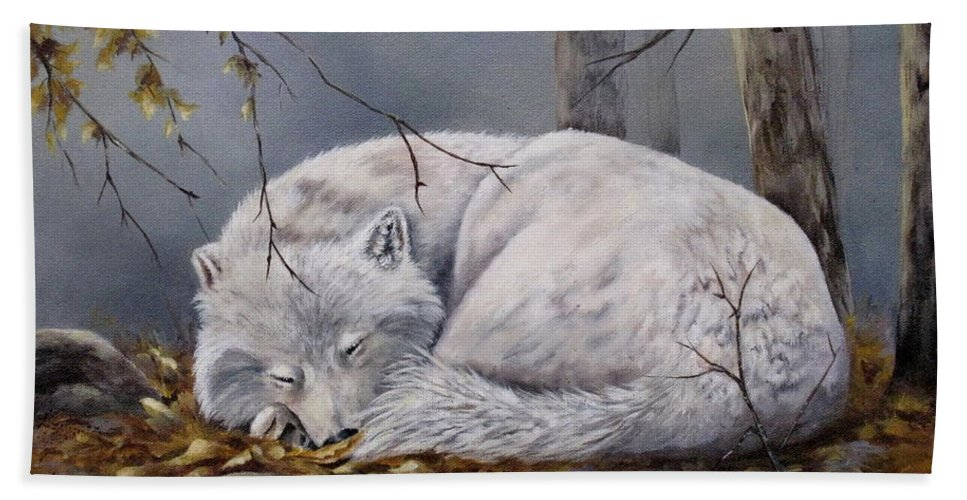 Wolf Beach Towel featuring the painting Wolf Dreams by Mary McCullah