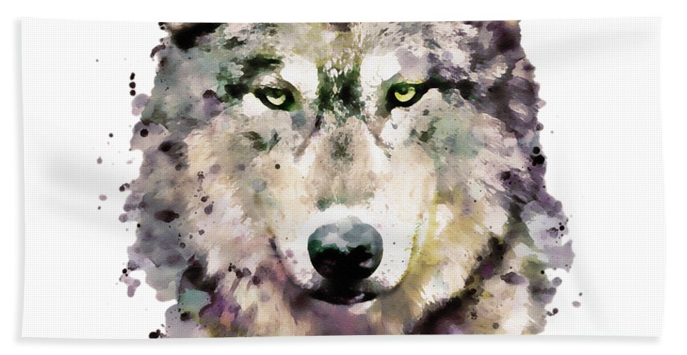 Wolf Beach Towel featuring the painting Wolf Head by Marian Voicu