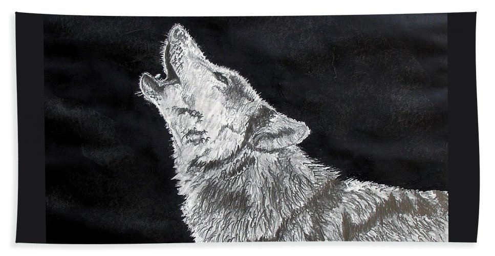 Pencil Beach Sheet featuring the drawing Wolf Howl by Stan Hamilton