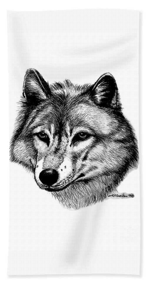 Wolf Beach Towel featuring the drawing Wolf In Pencil by Nick Gustafson