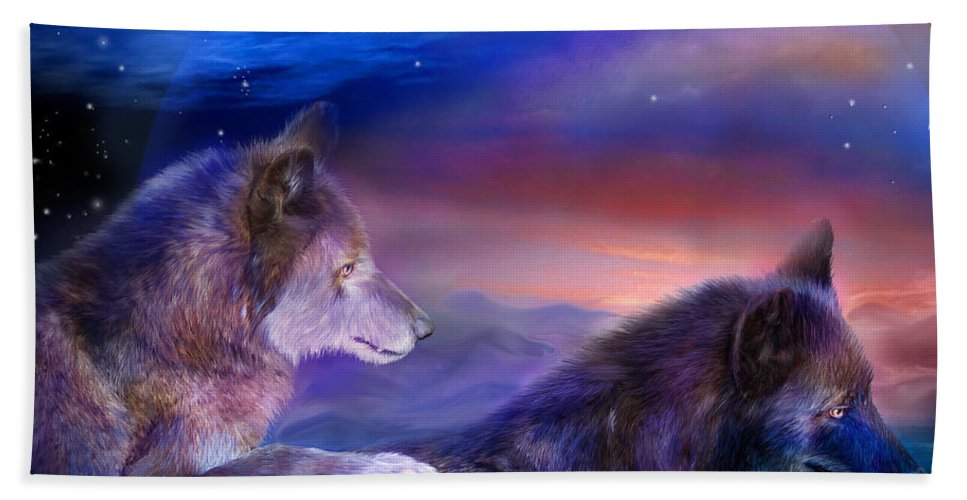 Wolf Beach Towel featuring the mixed media Wolf Mates by Carol Cavalaris