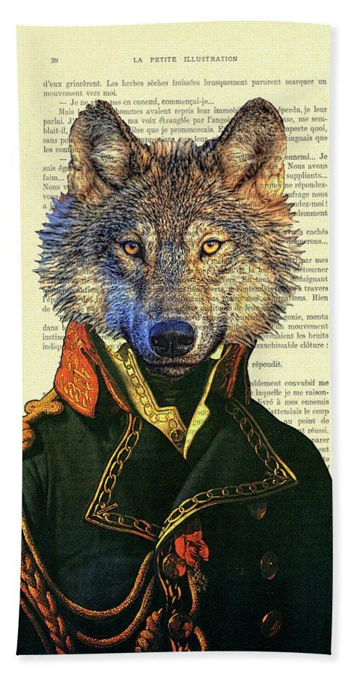 Wolf Beach Towel featuring the digital art Wolf portrait illustration by Madame Memento