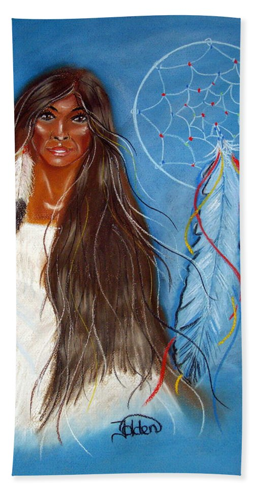 Wolf Beach Towel featuring the pastel Wolf Woman by Jo Hoden