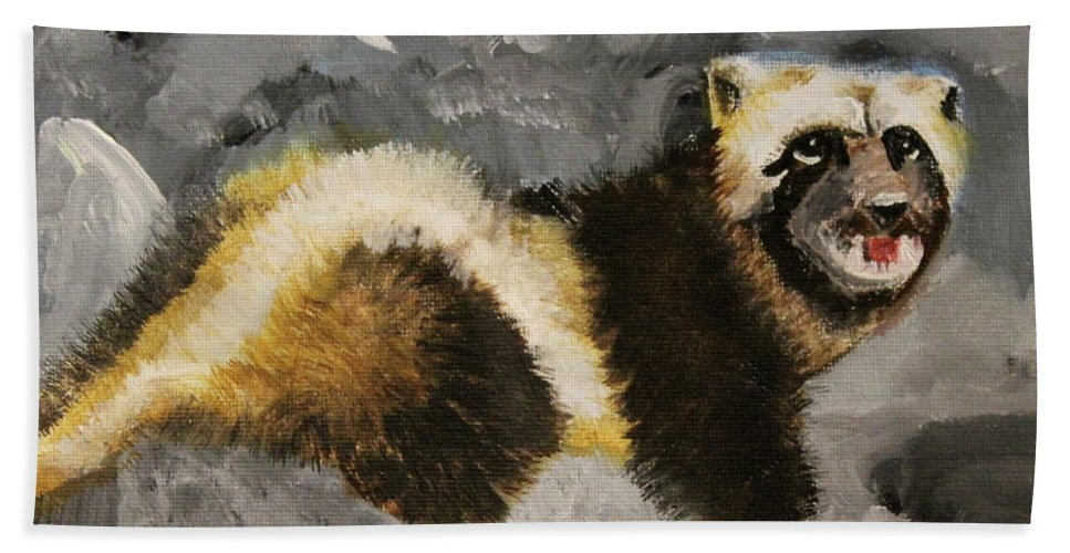 Bear Beach Towel featuring the painting Wolverine by Terry Lewey