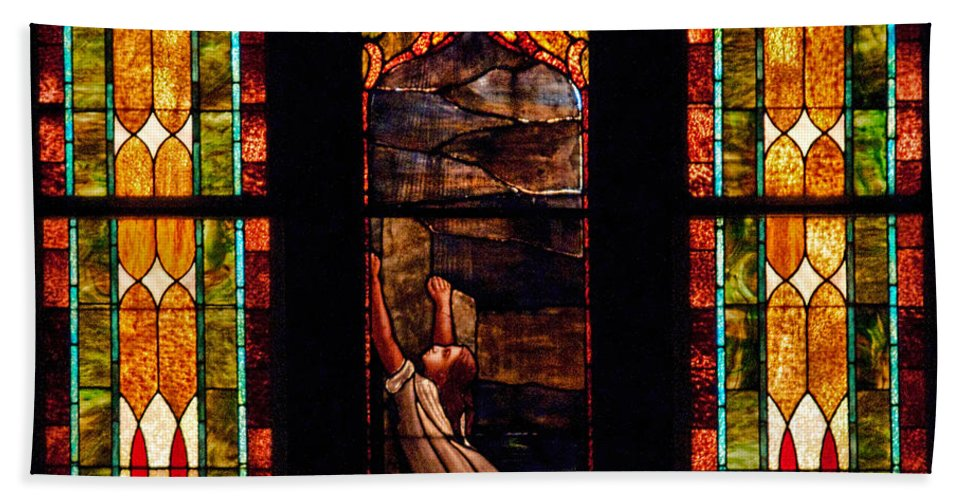 Woman Beach Towel featuring the photograph Woman And The Cross by David Arment
