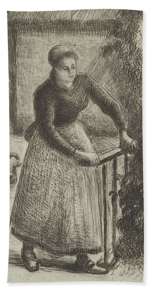 19th Century Art Beach Towel featuring the relief Woman At The Gate by Camille Pissarro