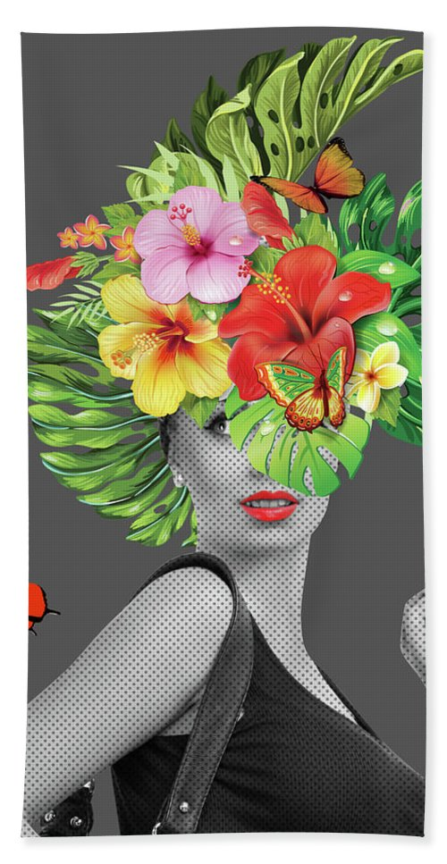 Woman Beach Towel featuring the photograph Woman Floral by Mark Ashkenazi