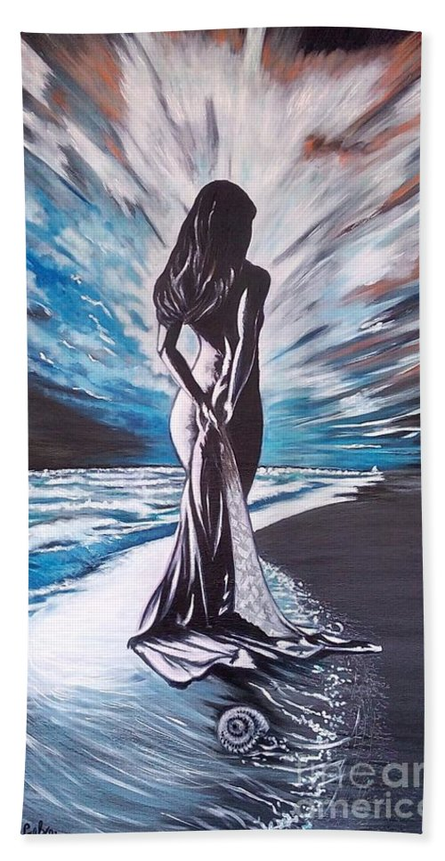 Beach Towel featuring the painting Woman In The Moonlight by Galya Koleva