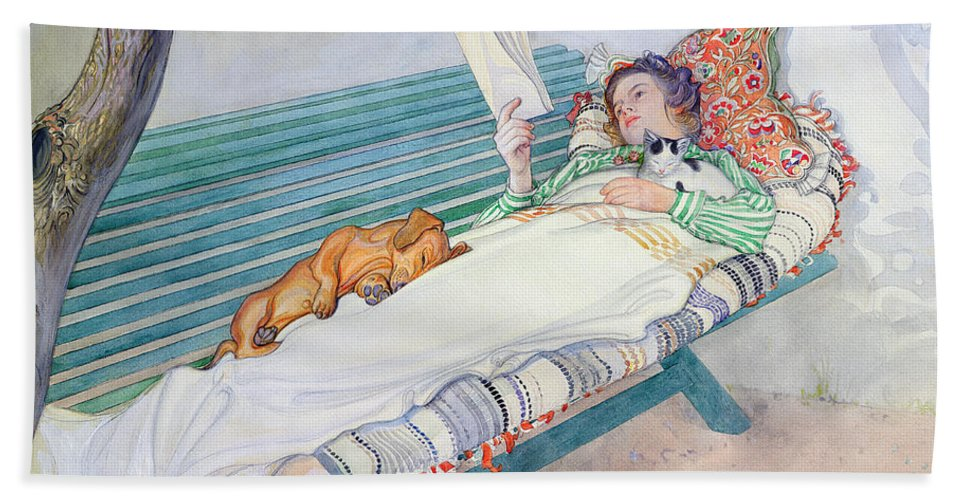 Woman Beach Towel featuring the painting Woman Lying on a Bench by Carl Larsson