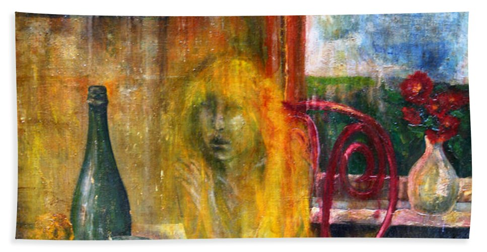 Imagination Beach Towel featuring the painting Woman Near Window by Wojtek Kowalski