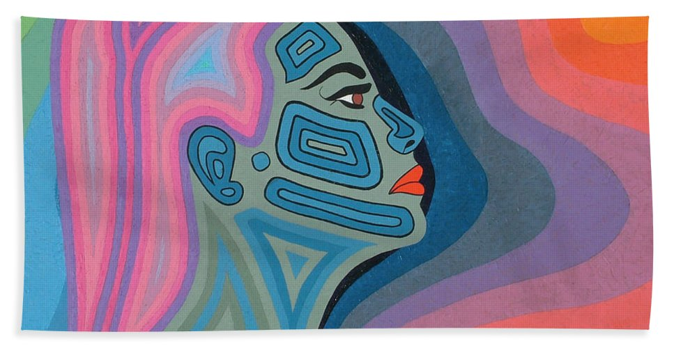 Oil Beach Towel featuring the painting Woman by Peter Antos