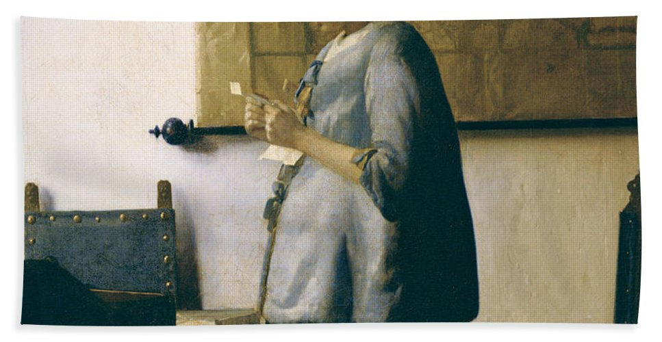 Woman Reading A Letter Beach Towel featuring the painting Woman Reading A Letter by Jan Vermeer