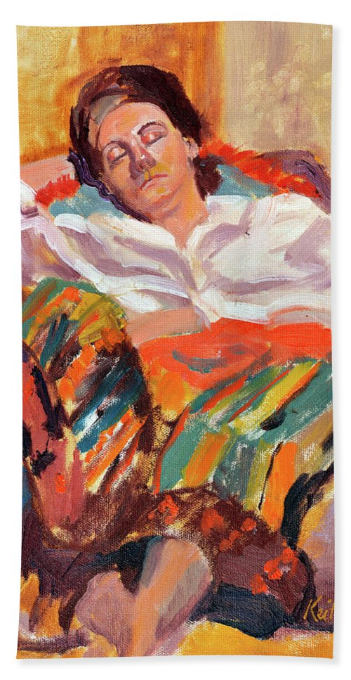 Portrait Beach Towel featuring the painting Woman Sleeping by Keith Burgess