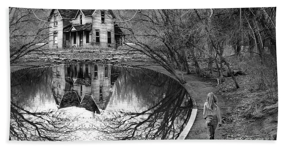 Woman Walking To Old House Beach Towel featuring the photograph Woman Walking To Old House by Jill Battaglia