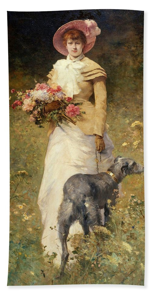 Ferdinand Heilbuth Beach Towel featuring the painting Woman With A Dog by Ferdinand Heilbuth