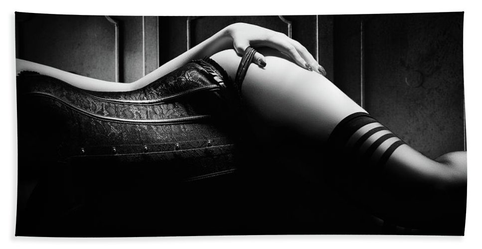 Woman Beach Towel featuring the photograph Woman With Black Corset by Johan Swanepoel