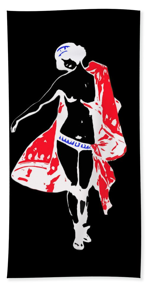 Woman With Red Cape Beach Towel featuring the photograph Woman With Red Cape - And Not Much Else by James Hill