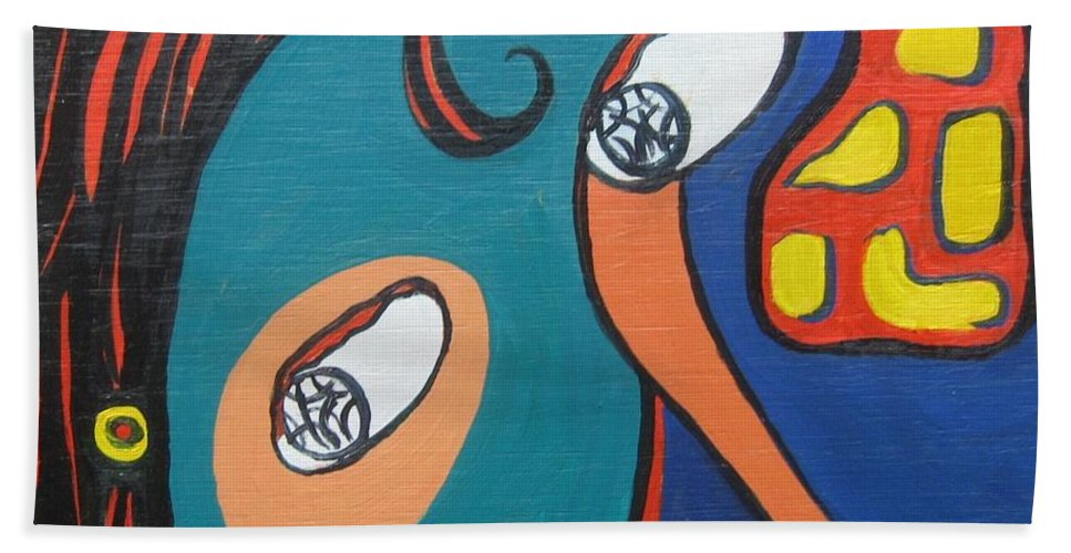 Abstract Paintings Beach Towel featuring the painting Woman12 by Seon-Jeong Kim
