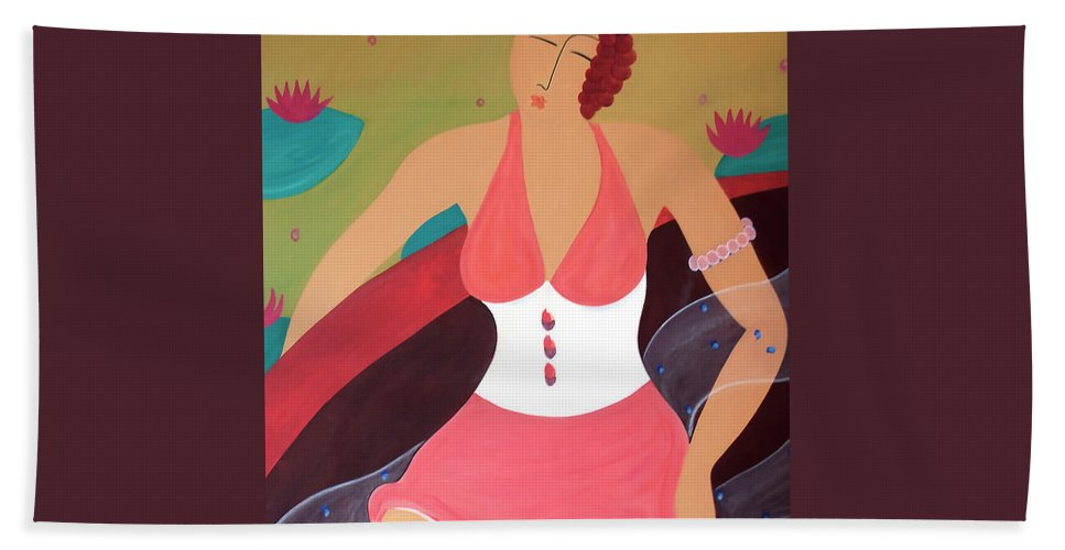 #female #boat #womeninaboat #figurative #photography #fineart #art #images #painting #artist #artprint Beach Towel featuring the painting Women In a Boat by Jacquelinemari