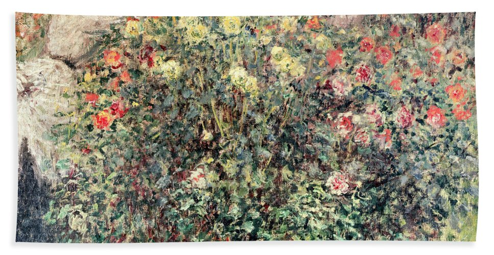 Women In The Flowers Beach Towel featuring the painting Women In The Flowers by Claude Monet