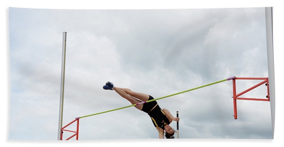 Canadian Track And Field National Championships 2011 Beach Towel featuring the photograph Womens Pole Vault 3 by Bob Christopher
